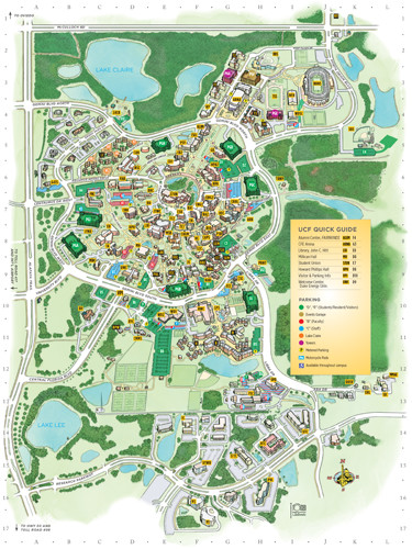 UCF color printable illustrated campus map