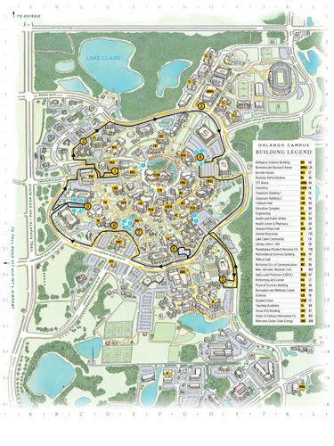 UCF color printable illustrated campus shuttle map